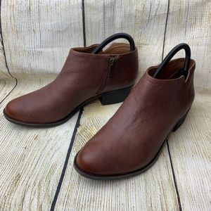 Lucky Brand Brown Leather Ankle Booties Boots